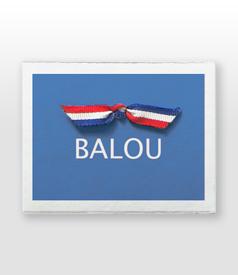 Balou Oud Hollands wit kaartje met strikje carousel