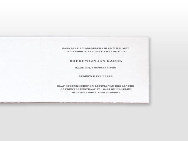 Boudewijn Oud Hollands wit geboortekaartje met met los naamkaartje en satijnen vlinderstrikje tekst