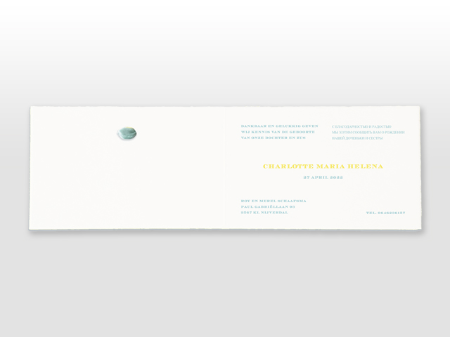 Charlotte Oud Hollands wit geboorte kaartje in 2 pms kleuren en dubbel satijn strikje binnenzijde
