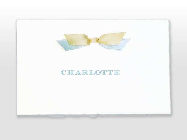 Charlotte Oud Hollands wit geboorte kaartje in 2 pms kleuren en dubbel satijn strikje