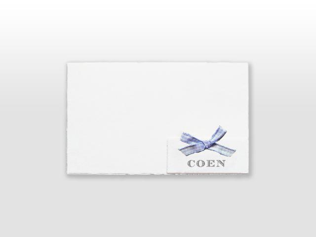 Coen Oud Hollands wit geboortekaartje met met los naamkaartje en Frans strikje