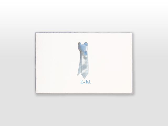 Daan Oud Hollands wit geboortekaartje met satijnen stropdasje