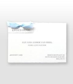 Ewoud Hugo Oud Hollands wit geboortekaartje met dubbel satijn vlinderstrikje voorvertoon