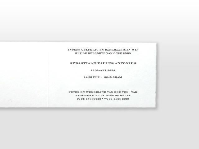 Sebas Oud Hollands wit geboortekaartje met klassiek strikje tekst