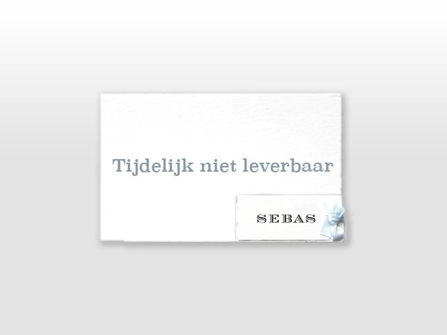 Sebas Oud Hollands wit geboortekaartje met klassiek strikje
