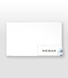 Sebas Oud Hollands wit geboortekaartje met klassiek strikje voorvertoon